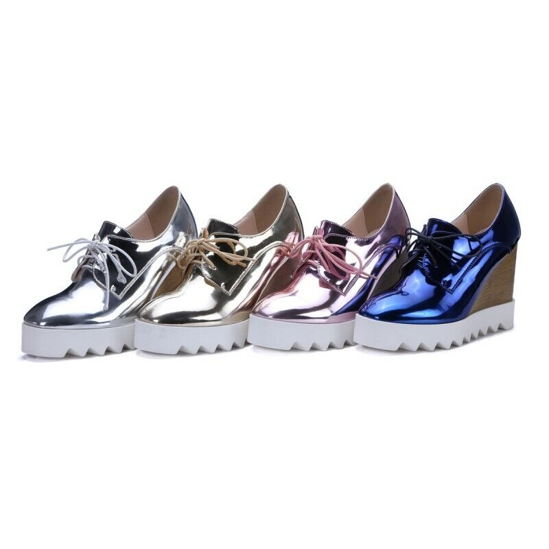 Womens Womens Womens Lace up Round toe Wedge Flats shoes Platform Creeper Outdoor Casual Solid 793128