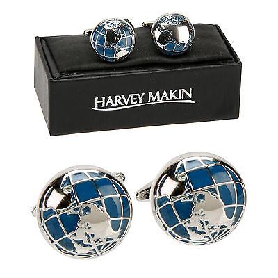 Harvey Makin World Globe Cufflinks in Gift box  23197