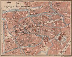 GHENT GAND GENT Vintage town city map plan de la ville Belgium