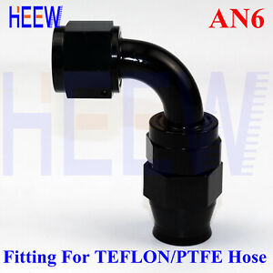 6AN-6-AN6-90-Degree-Elbow-Swivel-PTFE-E85-Fuel-Stealth-Line-Hose-End-Fitting-1PC