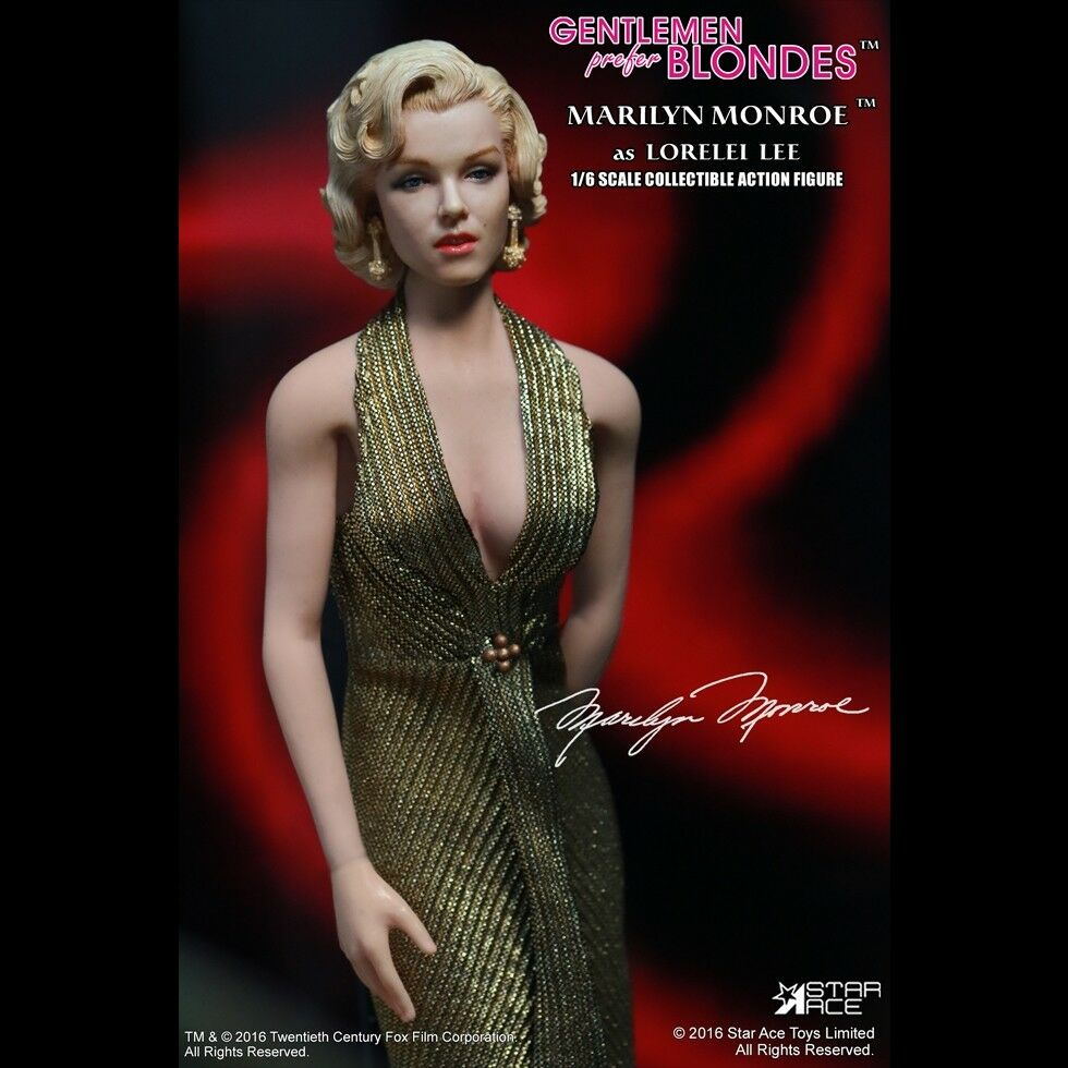 Star Ace Juguetes Caballeros prefieren BLONDES Marilyn Monroe 1 6 figura Glod Vestido ver