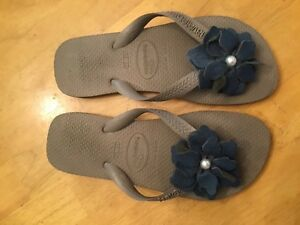 retail prices the latest good selling Details about Havaianas Size 4/5 Flip Flops Blue Flower Rubber Sandals