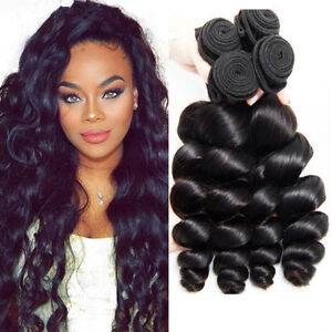 Indian-Thick-Glossy-3Bundles-Virgin-Human-Hair-Weave-Extensions-Loose-Wave-P760