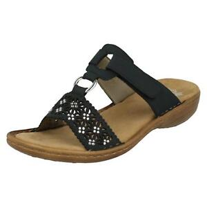 Ladies Rieker 60871 Blue Synthetic Strappy Mule Sandals