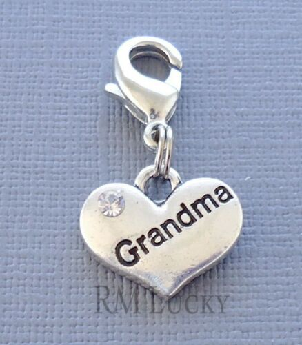 Silver tone Heart Family Clip On Charm with Lobster Clasp for Link Chain C201