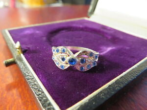 Super-925-Silber-Ring-Blaue-Steine-Tolle-Optik-Stein-Fehlt-Modern-Elegant-Chic