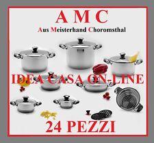 AMC BATTERIA DI PENTOLE 24 Pz. ACCIAO INOX 18/10 IN OFFERTA!