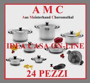 AMC-NEW-LINE-BATTERIA-DI-PENTOLE-24-Pz-ACCIAO-INOX-18-10