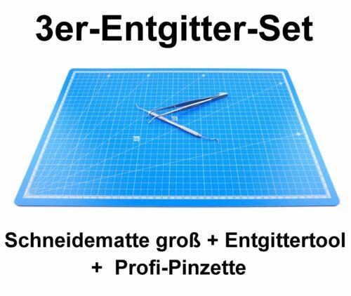 3er Entgitter-Set Schneidematte groß A3+Pinzette+Entgitternadel Plotter Textil