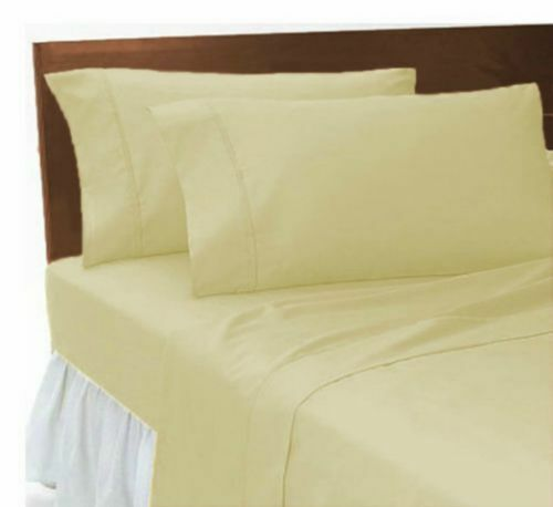 Luxury Plain Dyed Poly Cotton Non Iron Flat Sheets Size Single Double King
