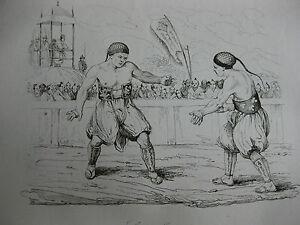 1834-Voyage-autour-du-monde-Urville-4-gravures-double-feuille-Japon-lutteurs