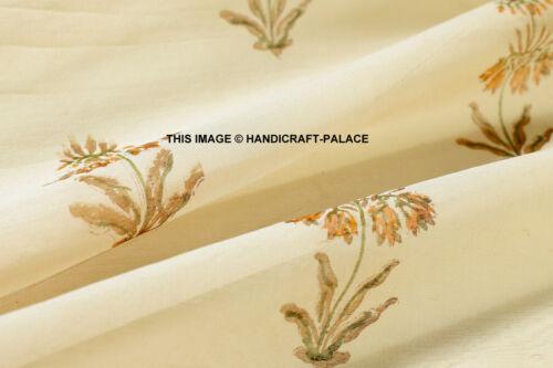 By Yard Indian Hand Block Print Fabric Chanderi Silk Crafting Floral Fabric