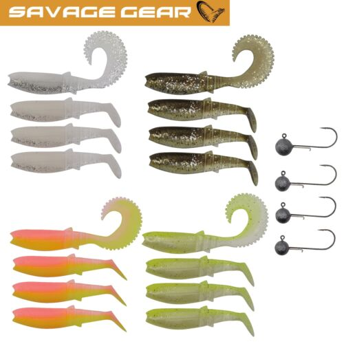 4 Jigköpfe Angelset Zander 16 Gummifische Savage Gear Canibal Box Kit M