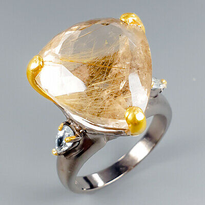 sterling silver ring Size 8 Rutilated Quartz and silver ring
