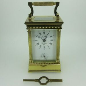 L-039-Epee-French-Brass-Alarm-Carriage-Clock-As-Is
