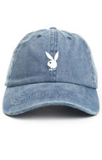 Playboy Bunny Custom Denim Blue Unstructured Dad Hat Cap Hefner Chris Brown New