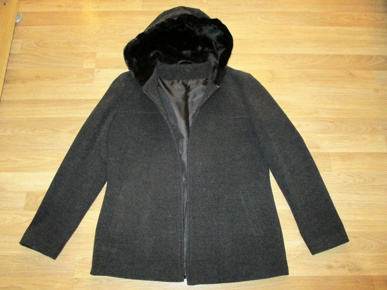 Womans BHS wool blend hooded zipped coat size 12