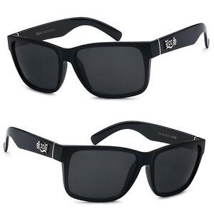 7cadfd0a17 Locs Mens OG Style Cholo Biker Sunglasses UV400 - Shiny Black LC90 ...