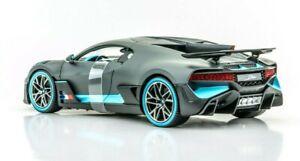Bugatti-divo-Matt-Gris-Con-Azul-acentos-1-18-Diecast-Modelo-Coche-por-Maisto-31719