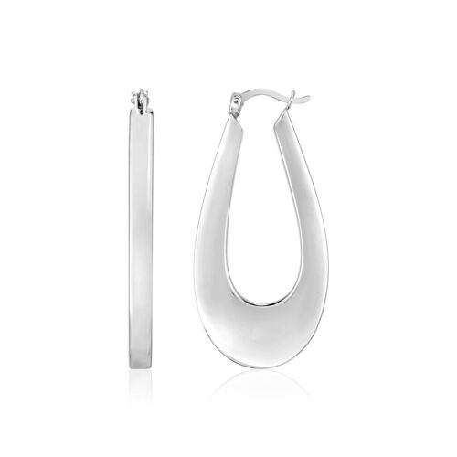 Details about  /Sterling Silver Long Oval Hoop Earrings 42mm Length Hinged Clasp