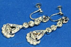 Vintage-Silver-Tone-Earrings-Sparkle-Clear-Stones-Screw-Back-Drop-Dangle-Clip-On