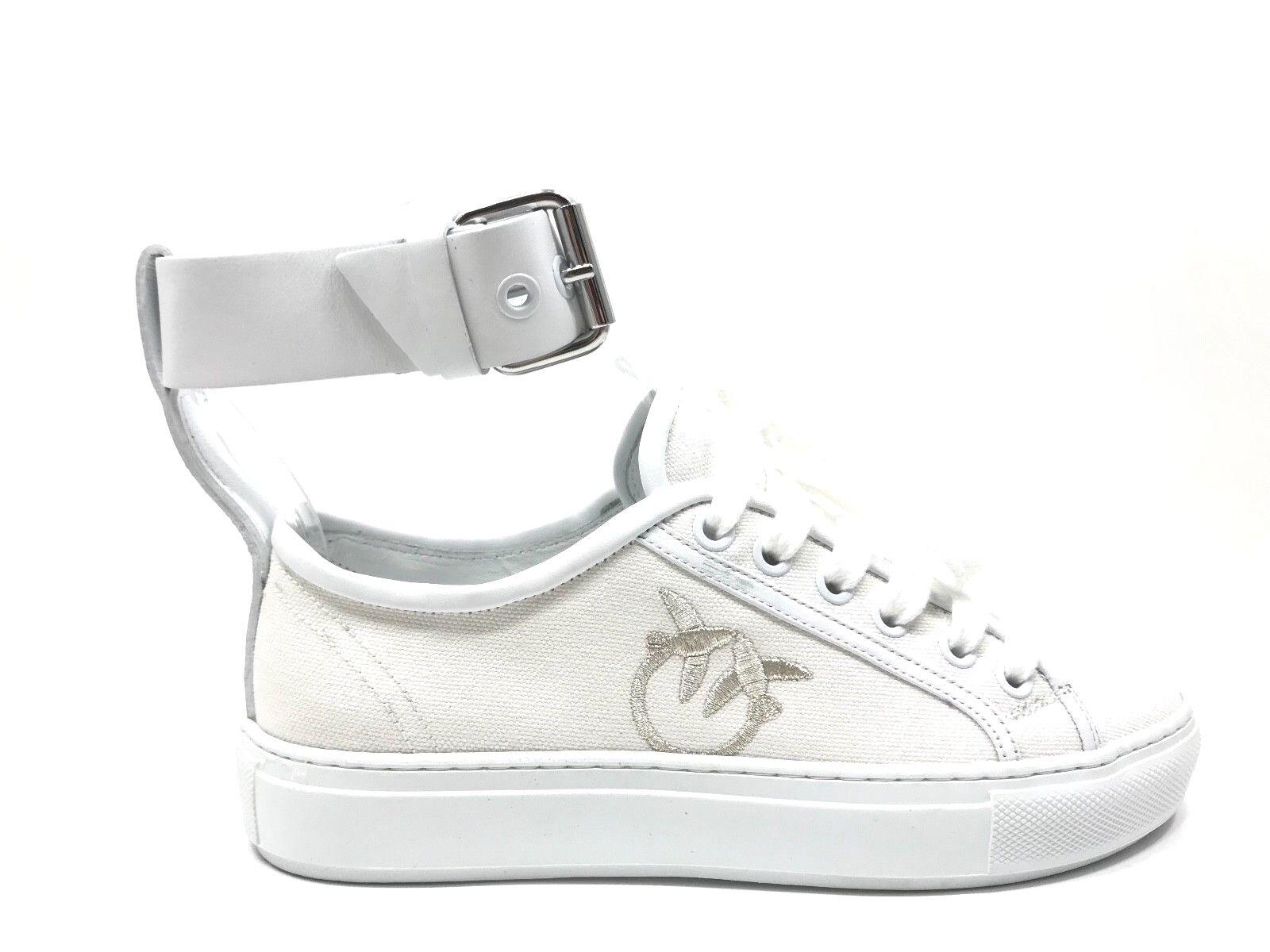 E18-PK3 Chaussures Femme 35 baskets roseo Bas Toile Blanc Fabriqué en Italie
