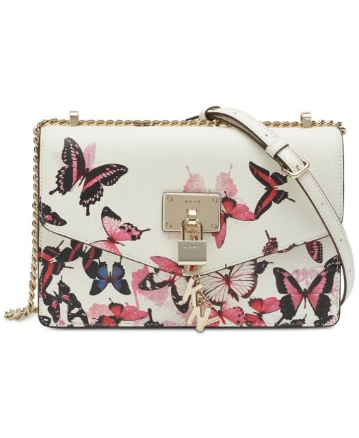 DKNY Elissa Leather Butterfly Print Satchel Shoulder Bag Padlock Logo Charm NEW