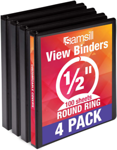Customizable Samsill Economy 3 Ring Binder Organizer .5 Inch Round Ring Binder