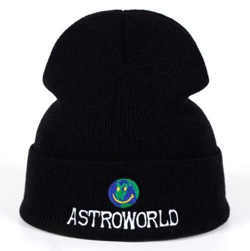 ASTROWORLD Travis Scott Beanie Knit Embroidery Warm Winter Unisex Black Gray Hat