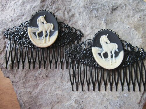 MYSTICAL MAGICAL Details about  /PAIR OF LILY OF THE VALLEY CAMEO BLACK FILIGREE HAIR COMBS
