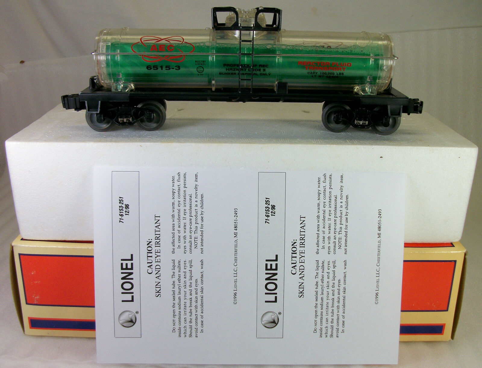 LIONEL: 16155 AEC REACTOR FLUID SINGLE DOME TANK CAR C-8 LN ORIGINAL BOX