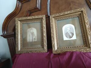 Gorgeous-034-Pair-034-of-Antique-Victorian-Photographs-with-Gilt-Frames-Circa-1880-039-s