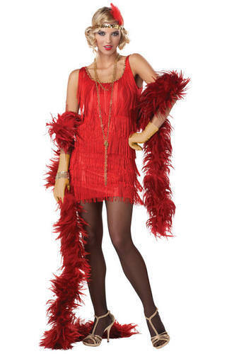 Red Fashion Flapper Ladies Fancy Dress 1920s Great Gatsby Womens Costume Outfit