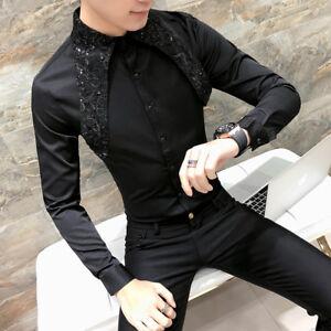 Camisa-de-hombre-Steampunk-Gotico-Seda-Raso-Lentejuelas-Suelto-Mangas-Largas-formales-de-trabajo