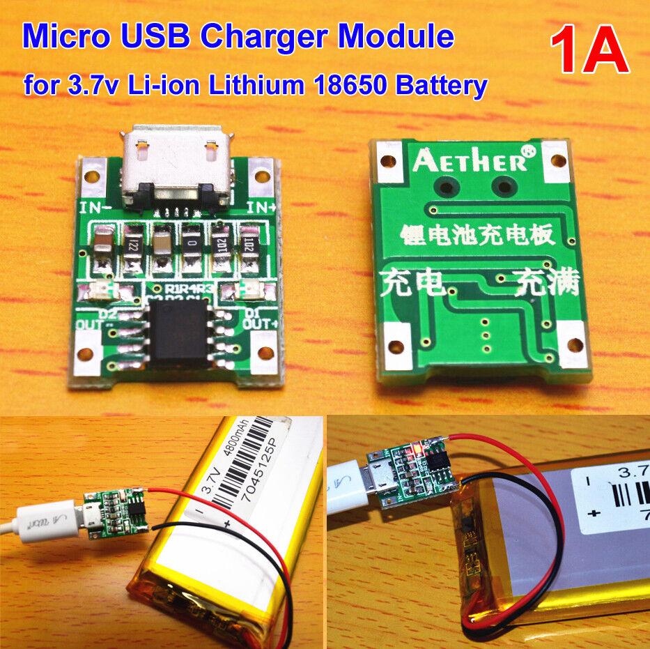 USB 5V 1A 1S 3.7V 4.2V Li-ion Lithium Lipo 18650 Battery Charging Module Board