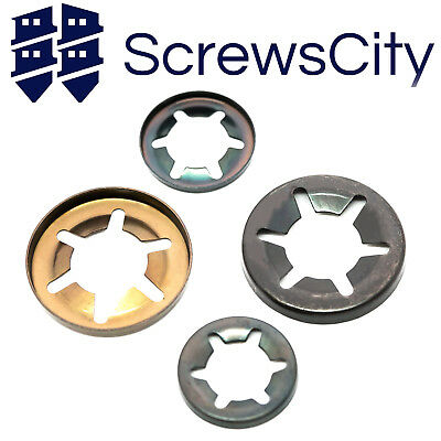 Genuine Starlock Push On Lock Washers Speed Clips 2x 3,4,5,6,8,10,12/&16mm  16PCE