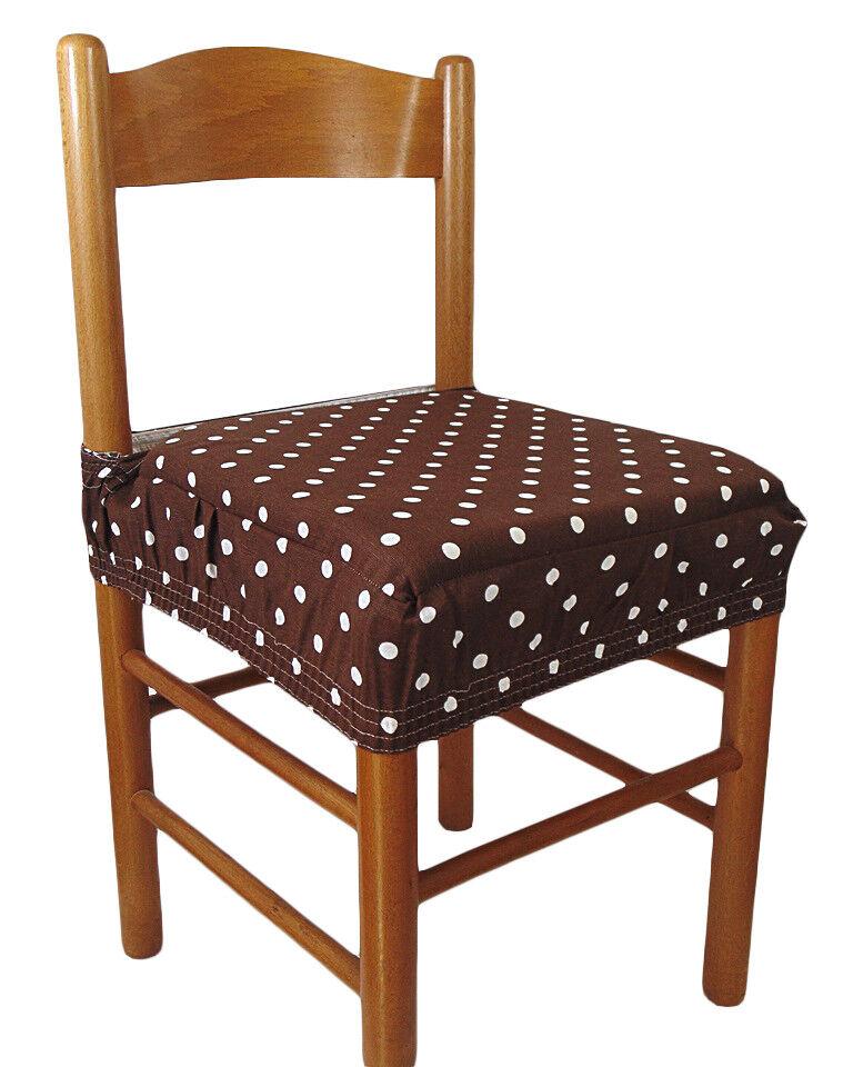 Dettagli su Due cuscini quadrati COPRISEDIA con elastico 2 pezzi pois marrone