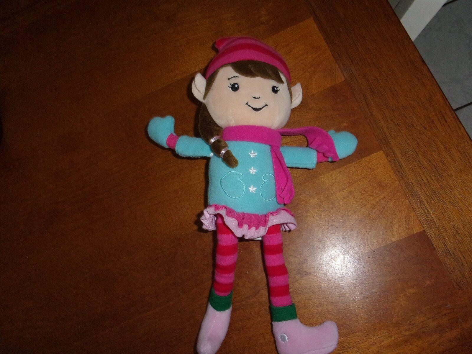 Hallmark Clementine The Elf Plush Girl Stuffed Doll 13  mittens stripes bluee