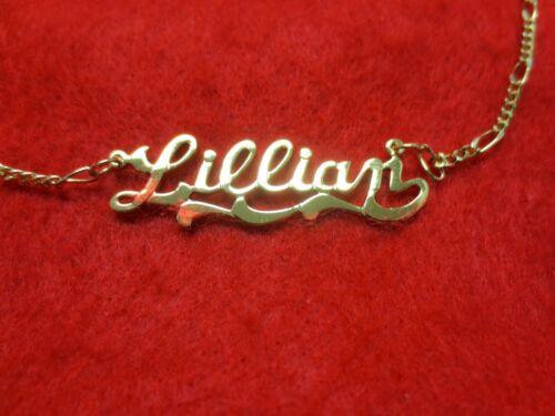 14kt Oro Ep 2MM Figaro Tobillera o Collar con el Nombre Lillian Colgante Charm