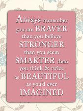 Metal sign pink inspirational Braver decorative tin door wall plaque home gift