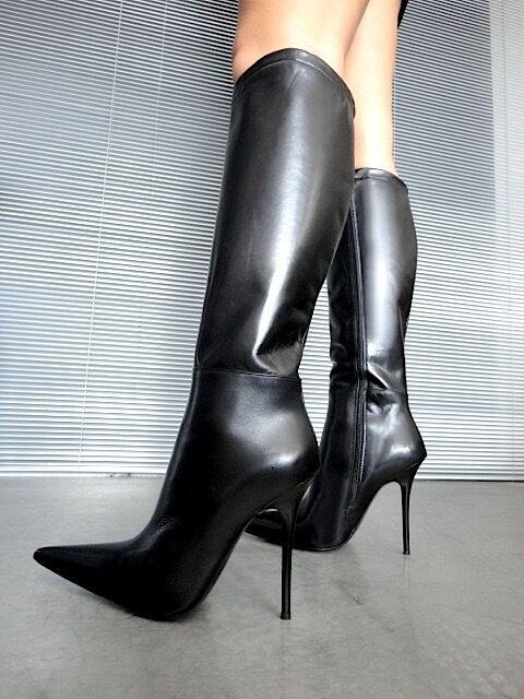 GIOHEL ITALY POINTY KNEE HIGH botas botas botas REAL LEATHER negro negro 45