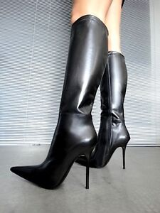 GIOHEL ITALY POINTY KNEE HIGH BOOTS STIEFEL BOTAS REAL LEATHER BLACK NEGRO 45
