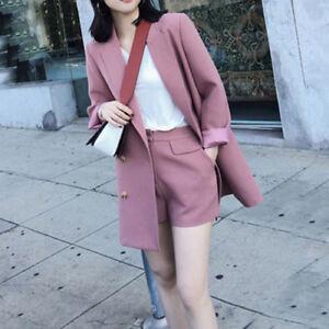 Women S Bf Lapel Collar Coat Jacket Short Pant 2 Pcs Formal Set