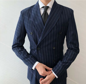 Men-039-s-Navy-Striped-Double-breasted-Tuxedos-2-Pieces-Classic-Office-Business-Suit