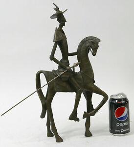 DON-QUIXOTE-SANCHO-PANZA-Sculpture-Figure-Spanish-Statue-Hot-Cast-Bronze-DALI-NR