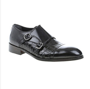Bramiosa-Zapatos-Para-Hombre-Correa-Doble-Monje-Moc-Cocodrilo-Cuero-Negro-11uk-Eu45