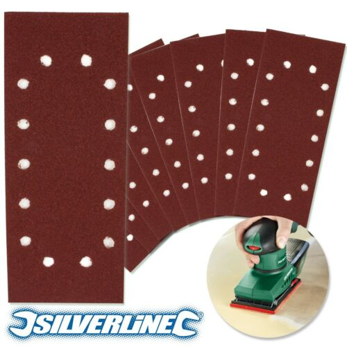 20x SILVERLINE 1//2 SANDING SHEETS Punched 120 GRIT Pre-Cut Rectangle Sander Pads