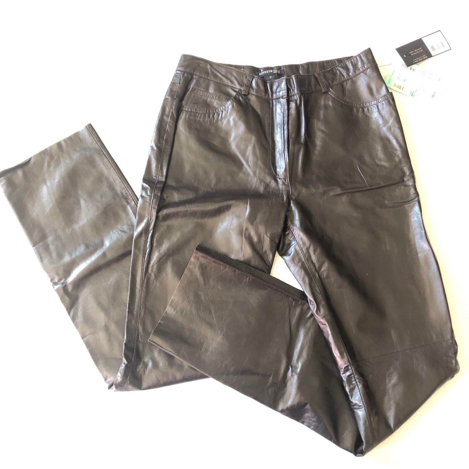 9cff7641831 Kenneth Cole NY Women's Straight Leg 100% Leather Pants Size 10 Chocolate  Brown