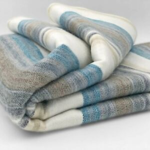 SOFT-amp-WARM-STRIPED-ALPACA-LLAMA-WOOL-BLANKET-THROW-95-034-x65-034-QUEEN-BED-SOFA-COUCH