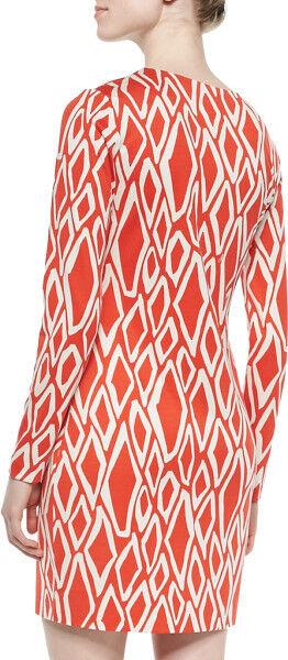 Diane von Furstenberg Coral White Ikat Stamp Reina L S S S Silk Dress  348 NWT 10 1a690e